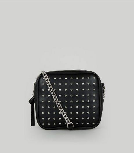 Black Studded Square Cross Body Bag | New Look
