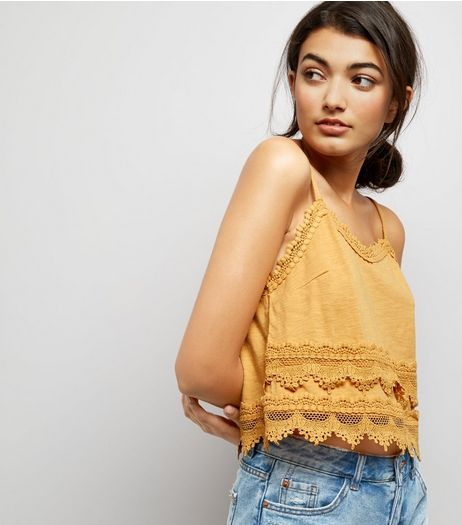 Yellow Lace Trim Jersey Cami | New Look