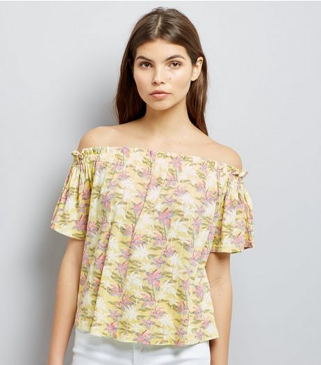 Yellow Palm Tree Print Bardot Top | New Look