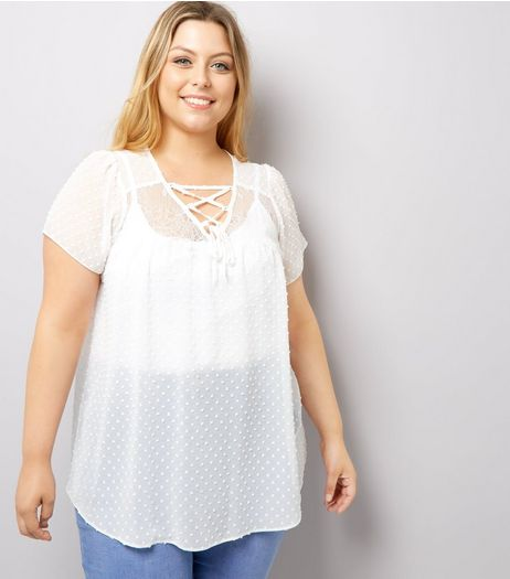 Curves Cream Lace Sheer Blouse | New Look