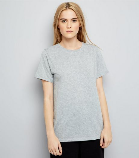 Grey Oversized Roll Sleeve T-Shirt | New Look