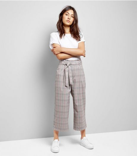 Brown Check Tie Waist Crop Trousers | New Look