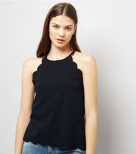 Black Scallop Hem Cami Top | New Look