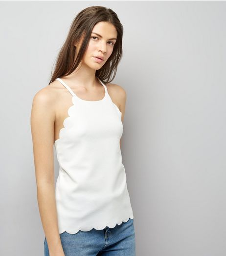Cream Scallop Hem Cami Top  | New Look