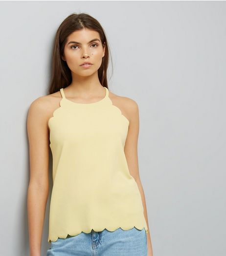Yellow Scallop Hem Cami Top | New Look