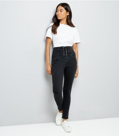Petite Black Eyelet Lace Up High Waist Skinny Jeans | New Look