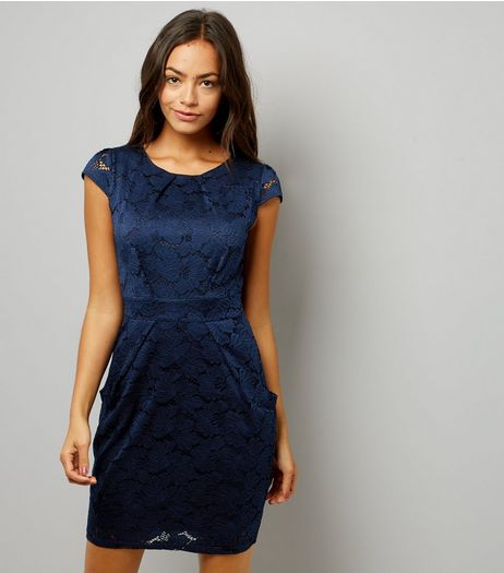 Blue Vanilla Navy Lace Bow Back Tulip Dress | New Look