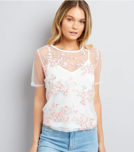 White Mesh Floral Embroidered T-Shirt | New Look