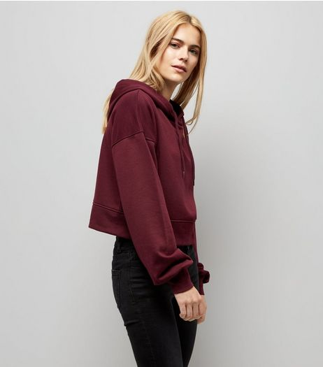 Burgundy Balloon Sleeve Cropped Hoodie | New Look