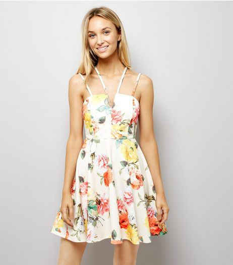 White Floral Print Strappy Skater Dress | New Look