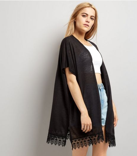 Black Crochet Lace Trim Kimono  | New Look