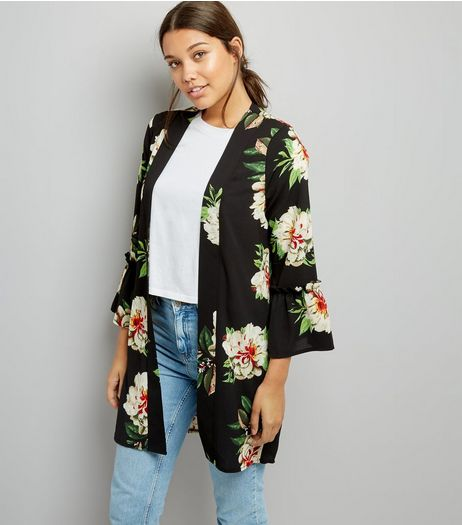 Cameo Rose Black Floral Print Bell Sleeve Kimono | New Look