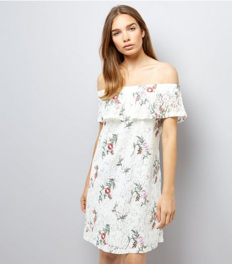 White Lace Floral Embroidered Bardot Dress | New Look