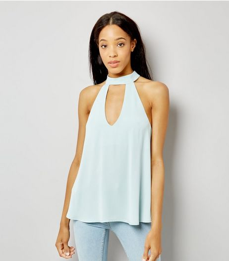 Pale Blue Choker Strap Back Top | New Look