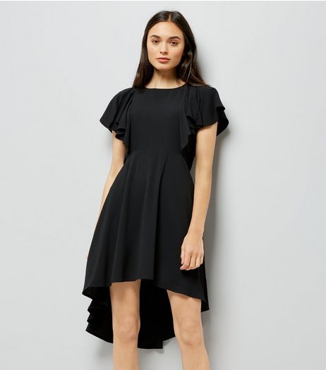 Black Dip Hem Frill Trim Dress | New Look