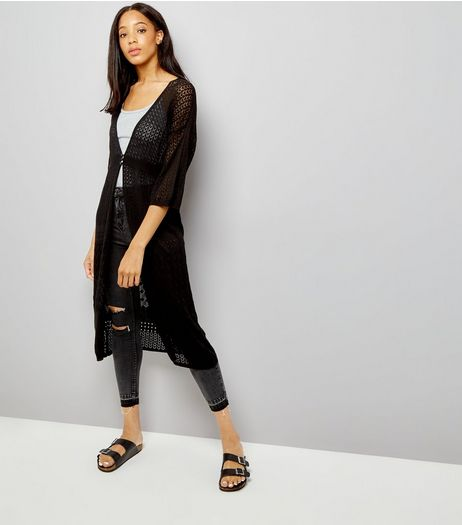 Black Pointelle Button Front Longline Cardigan | New Look