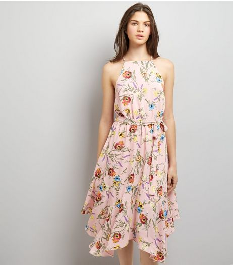 Pink Floral Print Hanky Hem Midi Dress | New Look