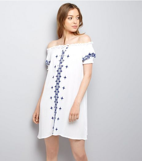Blue and White Embroidered Bardot Dress | New Look