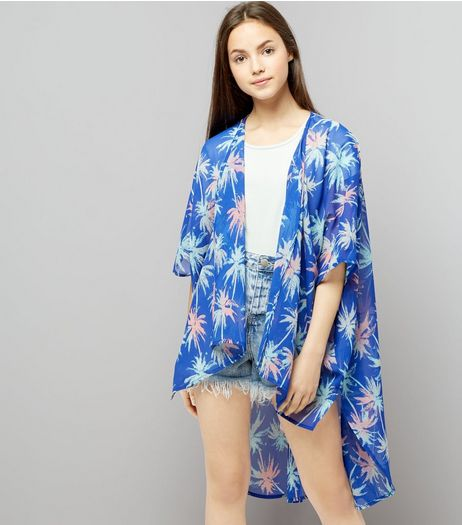 Teens Blue Palm Tree Print Dip Hem Kimono | New Look