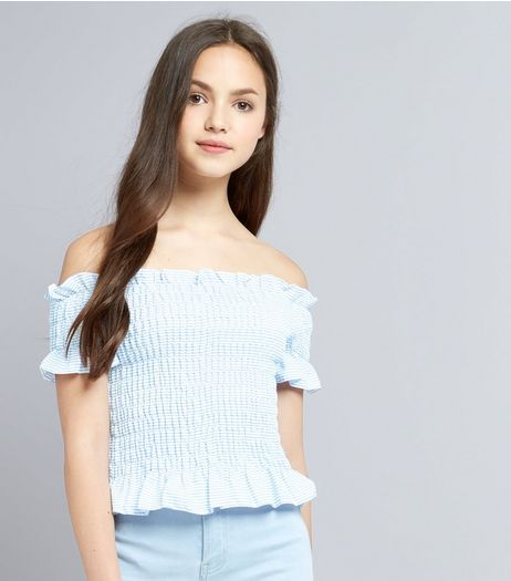 Teens Blue Stripe Shirred Bardot Neck Top | New Look