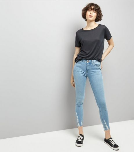 Light Blue Distressed Hem Skinny Jenna Jeans | New Look