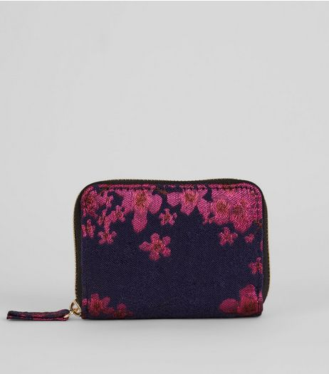 Pink Floral Jacquard Coin Purse | New Look