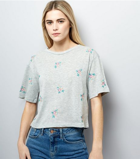 Grey Floral Embroidered T-Shirt | New Look