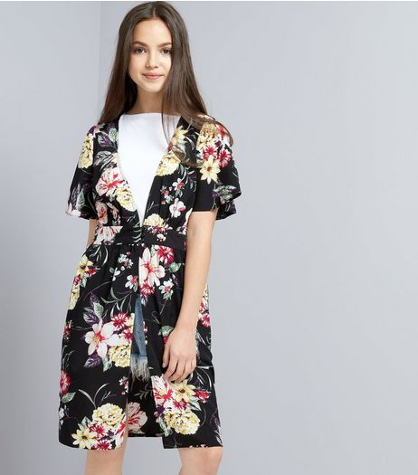Teens Black Floral Print Button Front Kimono | New Look