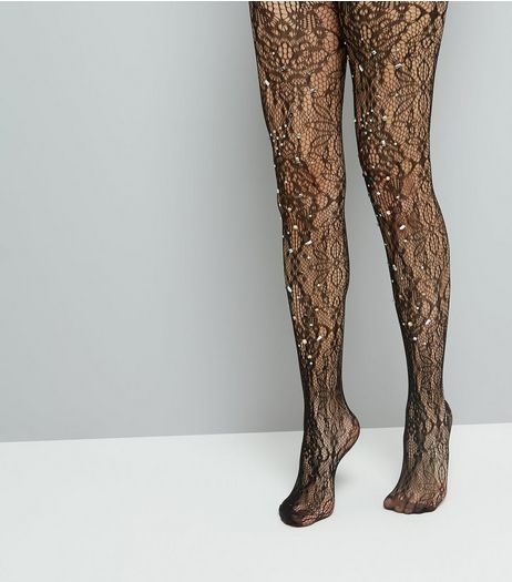 Black Lace Diamante Tights | New Look