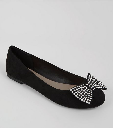 Wide Fit Studded Bow Ballet Pumps | New Look