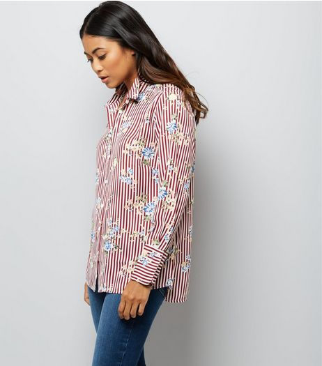 Petite Red Stripe Floral Print Shirt | New Look