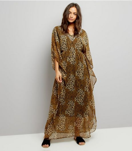 Mela Brown Leopard Print Kaftan Dress | New Look