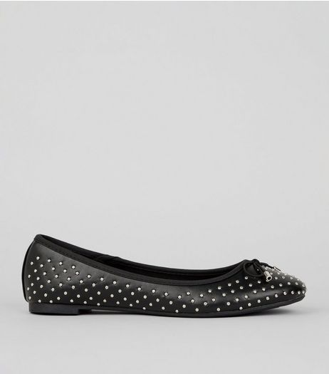 Black Stud Detail Ballet Pumps | New Look