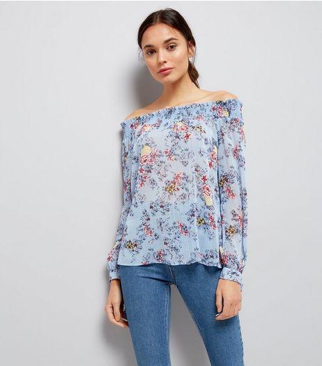 Tall Blue Floral Metallic Detail Bardot Neck Top | New Look