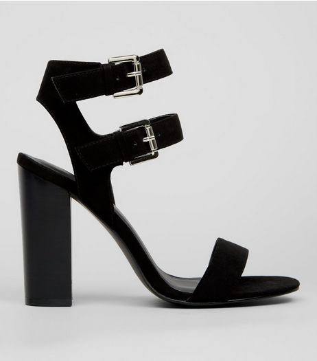 Black Suedette Double Buckle Strap Heels | New Look