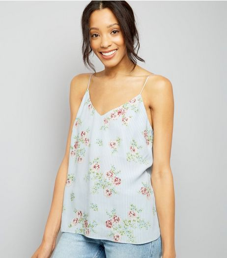 Pale Blue Stripe Floral Print V Neck Cami Top | New Look