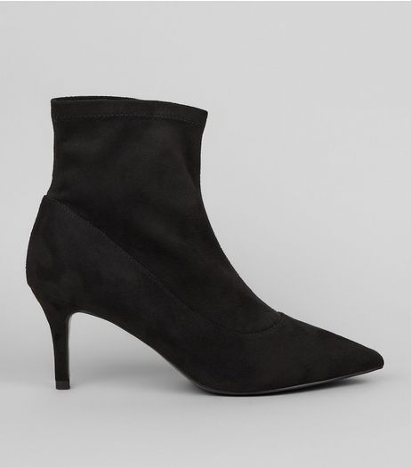 Black Suedette Sock Boots  | New Look