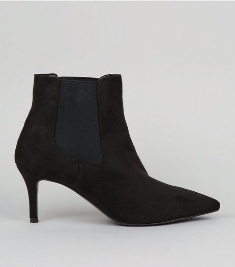 Black Suedette Kitten Heel Pointed Boots | New Look