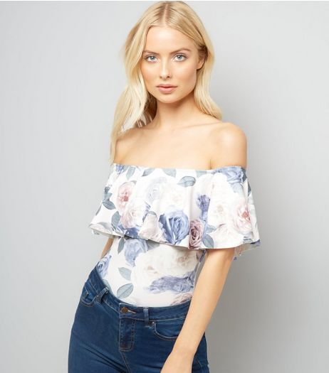 White Floral Print Bardot Neck Frill Trim Body Suit | New Look