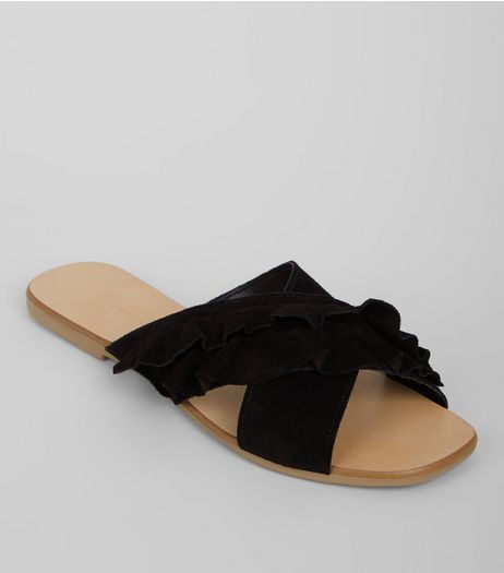 Wide Fit Black Leather Frill Sandals | New Look