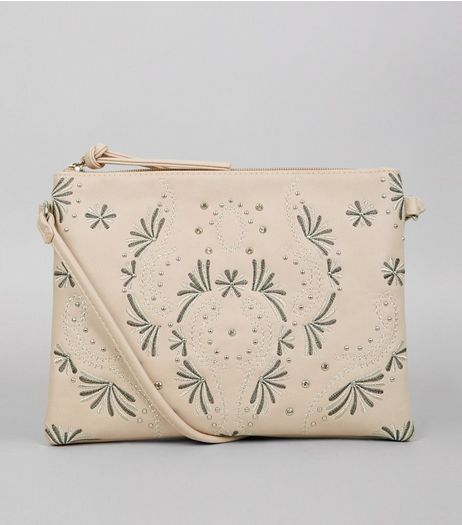 Cream Stud Embroidered Detail Shoulder Bag | New Look