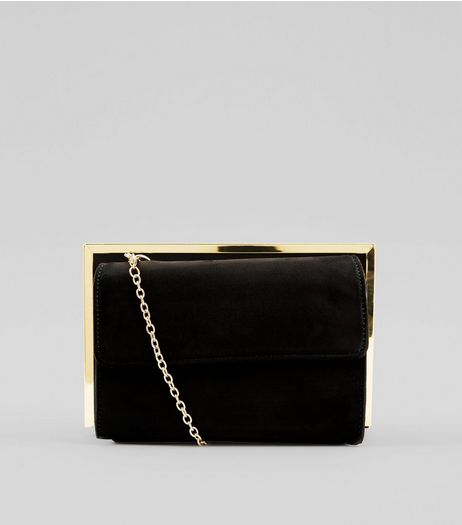 Black Suedette Metallic Framed Shoulder Bag | New Look