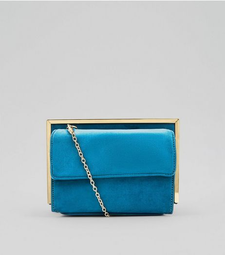 Blue Suedette Metallic Framed Shoulder Bag | New Look
