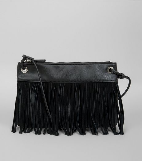 Black Fringe Cross Body Bag  | New Look