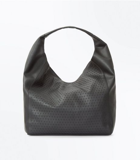 Black Stud Oversized Slouchy Bag | New Look