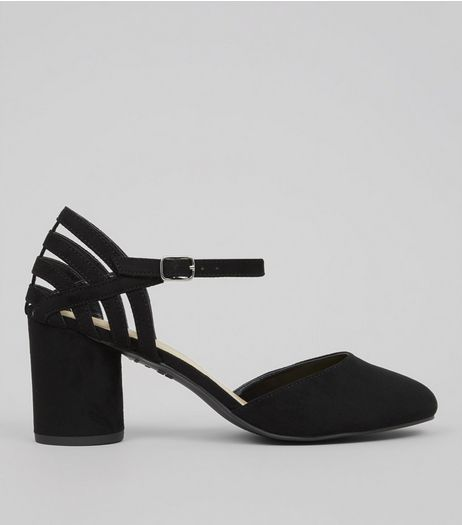 Wide Fit Black Suedette Cylindrical Heeled Courts | New Look