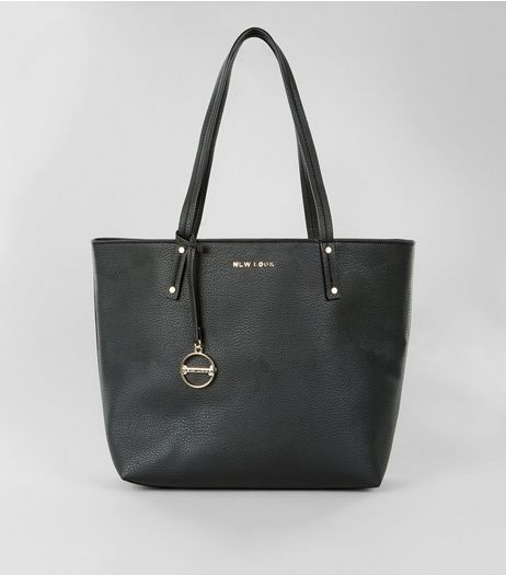 Black Branded Tote Bag | New Look
