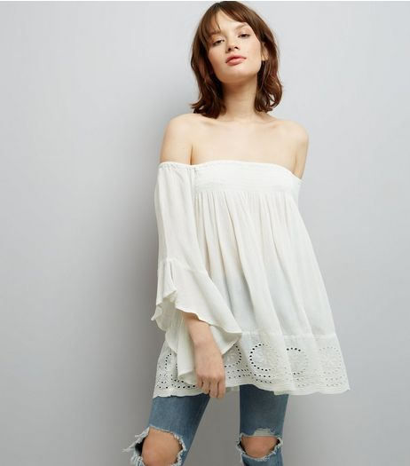 Blue Vanilla Cream Crochet Trim Bardot Top  | New Look