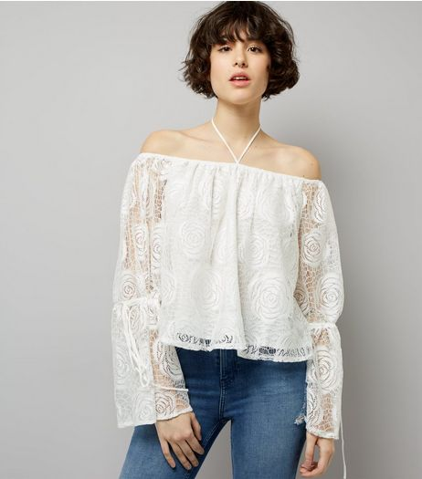 Blue Vanilla Cream Crochet Lace Bardot Neck Top  | New Look