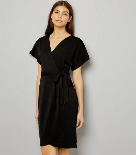 Blue Vanilla Black Wrap Front Dress | New Look